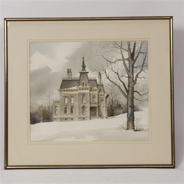 Wilbur M. Meese, (American, 1910-1998), Italianate house on snow covered hill, watercolor on paper, 22 1/2