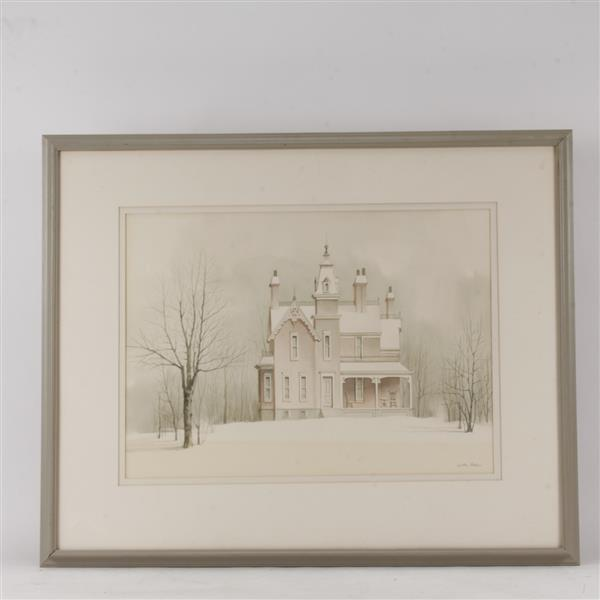 Wilbur M. Meese, (American, 1910-1998), Victorian house on a snow covered hill, LARGE SCALE watercolor on paper, 20 3/4