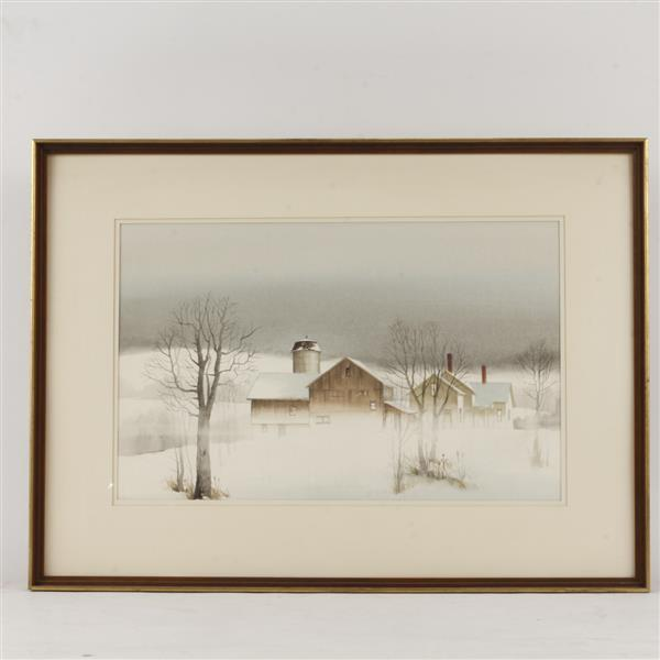 Probably Wilbur M. Meese, (American, 1910-1998), winter landscape with barn and homestead, watercolor on paper, 17