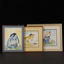 Barbara Mangus-Hopkins, (American, 20th century), three Winnie the Pooh characters, watercolor on paper, 9 1/2