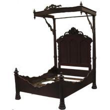 Victorian American Rococo Revival rosewood half tester bed.