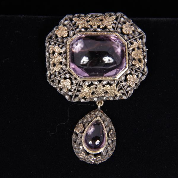 Late victorian edwardian 2pc sterling silver brooch pin for Silver jewelry repair indianapolis