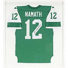 Joe Namath #12 autographed NFL Pro-Football New York Jets jersey.