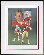 NFL Pro-Football autographs: Joe Montana signed lithograph, Joe Namath New York Jets 8x10 photo.