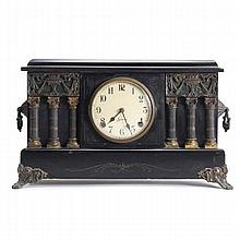 Sessions Adamantine mantel clock; ebonized case with applied metal neo classical decoration and columns.