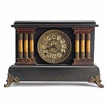 Adamantine Mantel Clock; ebonized case with marblized trim and celluloid columns with applied metal decoration, 'SF' on dial.