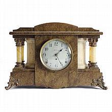 Seth Thomas Adamantine mantel clock; marblized case with celluloid columns