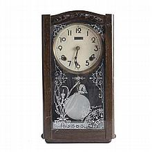 Victorian mantel/wall clock; mahogany case with aesthetic decoration on glass door.