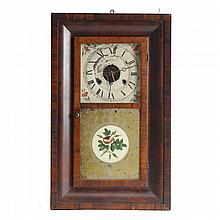Victorian ogee shelf clock; floral eglomise reverse painted glass door, mahogany with exotic veneer.