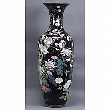 Japanese cloisonne palace size mourning vase depicting the cycle of the dove, 4ft. tall.