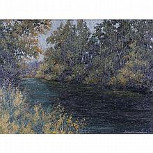 Dan Woodson, (Indiana; b.1945), Early autumn landscape with river, oil on canvas, 12