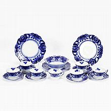 Flow Blue Florida pattern china, partial dinnerware / luncheon set.