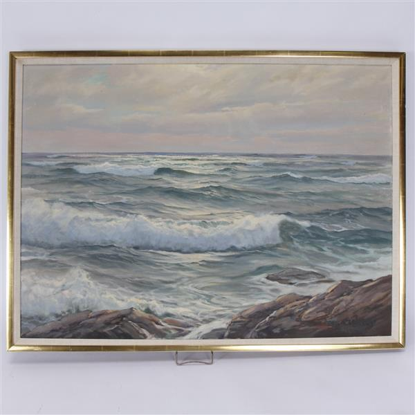Charles Vickery, (Illinois; 1913 - 1998), choppy waters seascape, oil on canvas, H 30