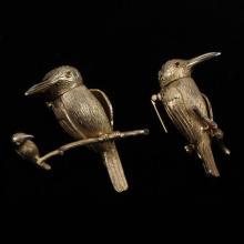 Les Bernard 2pc. Gilt Articulated Figural Gold Tone Bird Brooch Pins