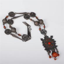 Tribal Middle Eastern Coral & Hammered Silver Necklace