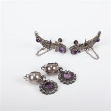 Mexican Sterling Silver 2pc. Clip Earrings; Daggers with Purple Cabochons & Drop Earrings with Purple Cabochons