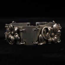Vintage Scandinavian Sterling Silver Modernist Floral Bracelet
