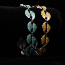 David Andersen Norway 2pc. Sterling Silver Enamel Leaves Bracelets; Matching Set, Yellow & Green.