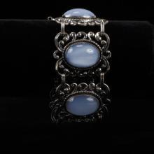 Danecraft Danish Modern Sterling Silver Bracelet with Blue Moonstone Glass Cabochons