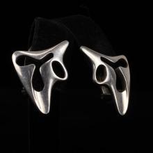 Georg Jensen Denmark Sterling Silver Modernist Amorphic Clip Earrings.