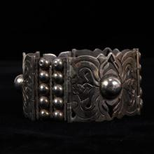 Mexican Sterling Silver Modernist Wide Link Cuff Bracelet; ca. 1940s.