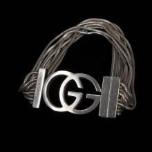 Gucci Sterling Silver Multi Strand Vintage Designer Monogram Bracelet.