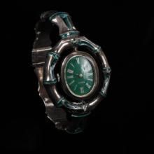 Gucci Sterling Silver & Green Enamel Swivel Lady''s Designer Bracelet Watch, Wristwatch.