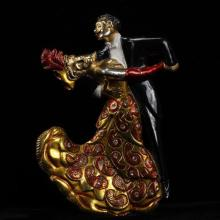 Mosell Gold Tone Enameled Figural Ballroom Dancing Couple Brooch Pin