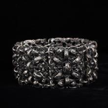 Napier Vintage Sterling Silver Repousse Linked Cuff Bracelet.