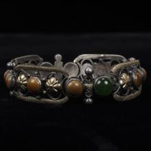 Unmarked Gilt Metal Bracelet with Stone Cabochons