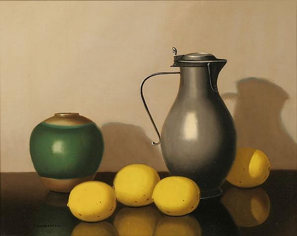 Nicolaas Bruynesteyn, (Dutch, 1893-1950), still life with lemons, oil on canvas, 15 1/2