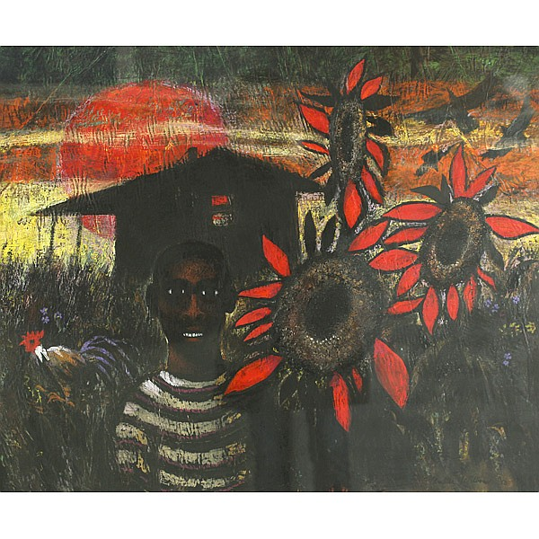 Walter Williams, (African American; 1920 - 1998), Sundown, Gouache, wax, pastel, charcoal and sand on paper laid down on board (orig...