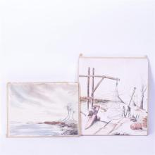 John Mann, Two Shore Landscape, watercolors on paper mounted onto board, H 18