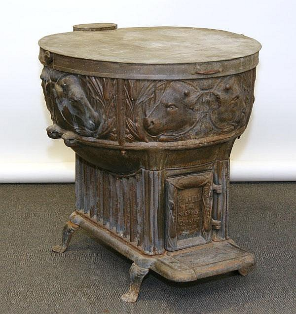 Rare Butcher 39 S Cast Iron Rendering Kettle Stove With Embosse