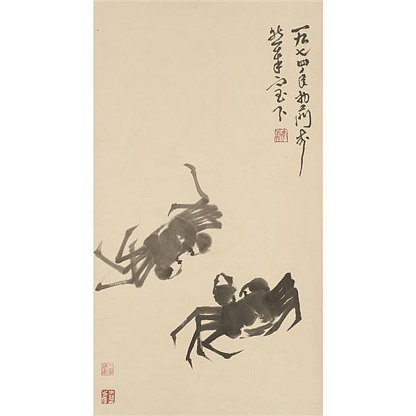 Lai Chusheng (1904-1975) Chinese watercolor scroll; crabs ink painting.
