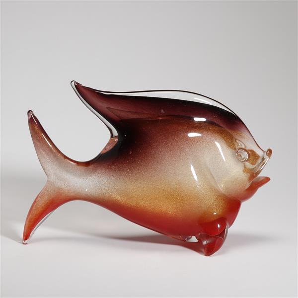 Pair archimede seguso murano 39 polveri 39 orange art glass fish for Murano glass fish