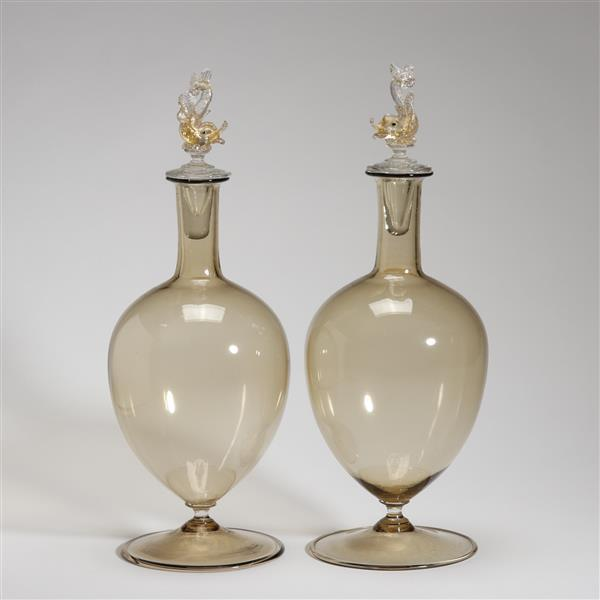 Pair Salviati Murano art glass decanters with fish-form stop