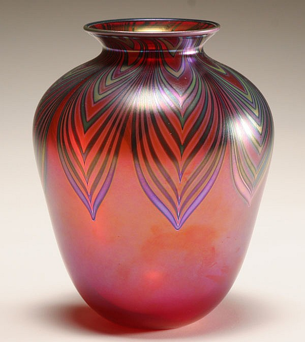 Charles Lotton red iridescent studio glass vase, 1987.