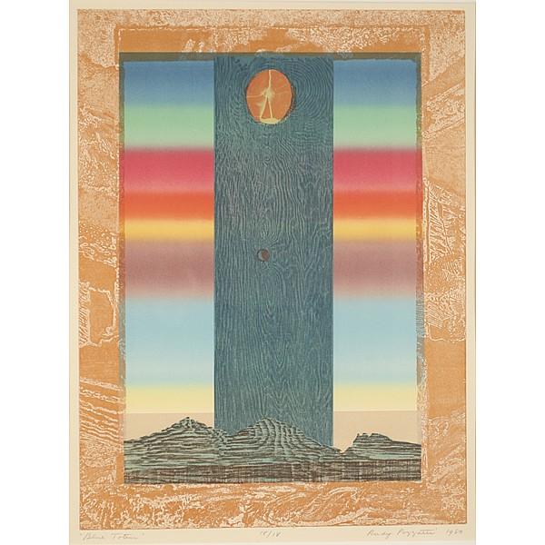 Rudy Pozzatti, (American b. 1925), Blue Totem, Serigraph., 23 3/4