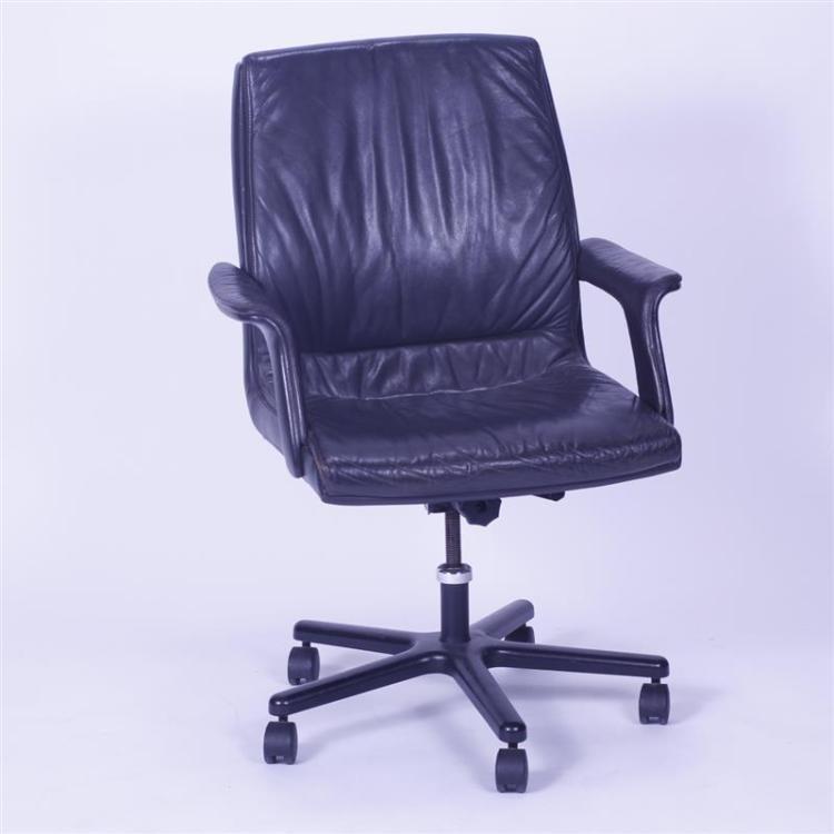 dunbar modern black leather desk chair swivel office chair
