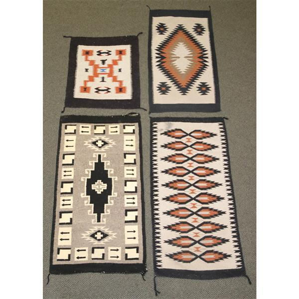 Four Mexican Navajo Style Rugs / Blankets In Black, Rust, Br