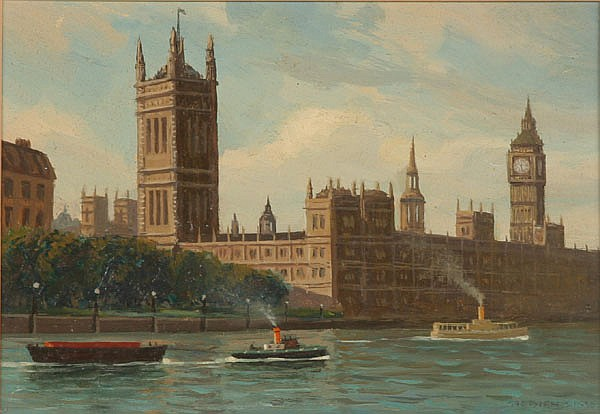 Stephen Sims (British, 20th century) Big Ben and Parliament, London oil on board