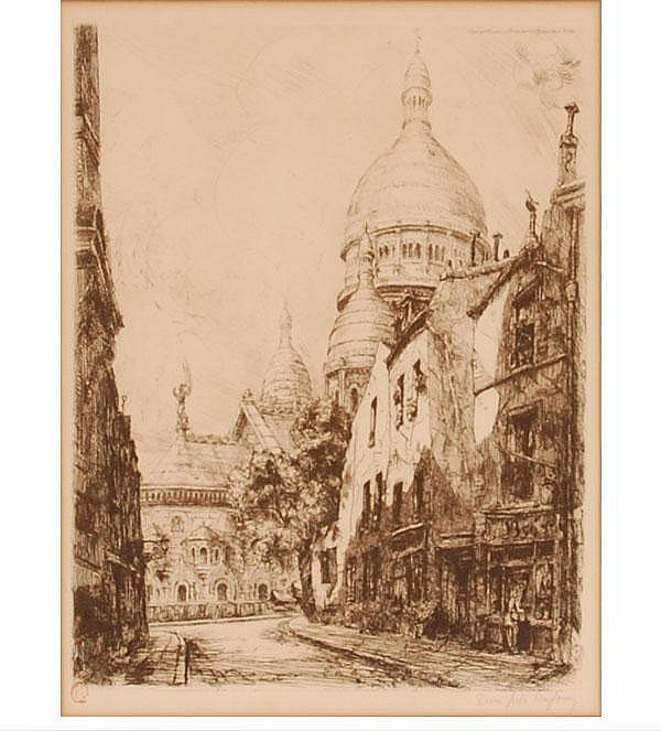 Jean-Jules Dufour, (French, 1889-1945), architectural street scene, etching, 13 1/2