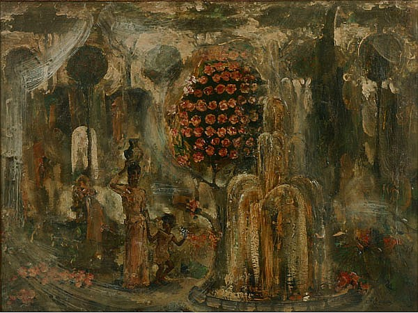 Janet Robson Kennedy, (American, 1902-1974), Orientalist style landscape, abstract oil on board, 23 1/2