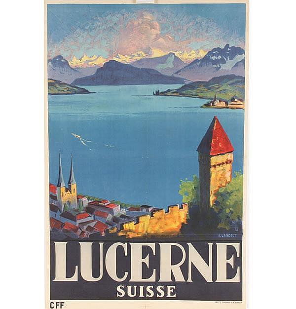 Otto Landolt Lucerne Swiss Vinatge Travel Poster