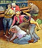 Eli Levin Bar Fight c.1986 Watercolor, Eli Levin, Click for value