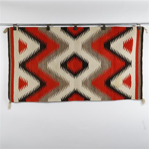 Native American Indian red dazzler weaving rug.