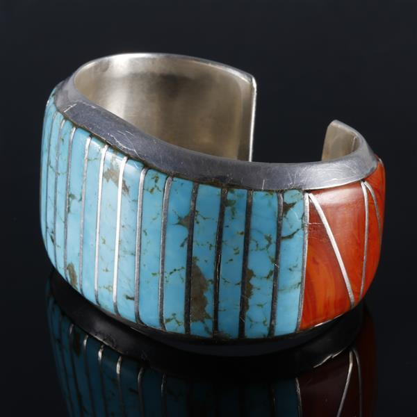 Native American Indian substantial sterling silver inlaid turquoise and spiny oyster cuff bracelet.