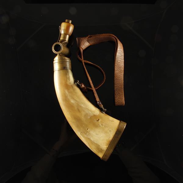 Civil War era powder flask made with brass fittings, 1860.
