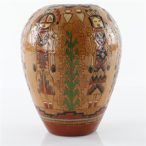 Ken White Navajo Native American Indian Yei pottery vase.